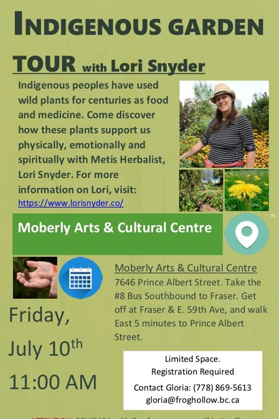 An image of a poster for an Indigenous garden tour with Lori Snyder