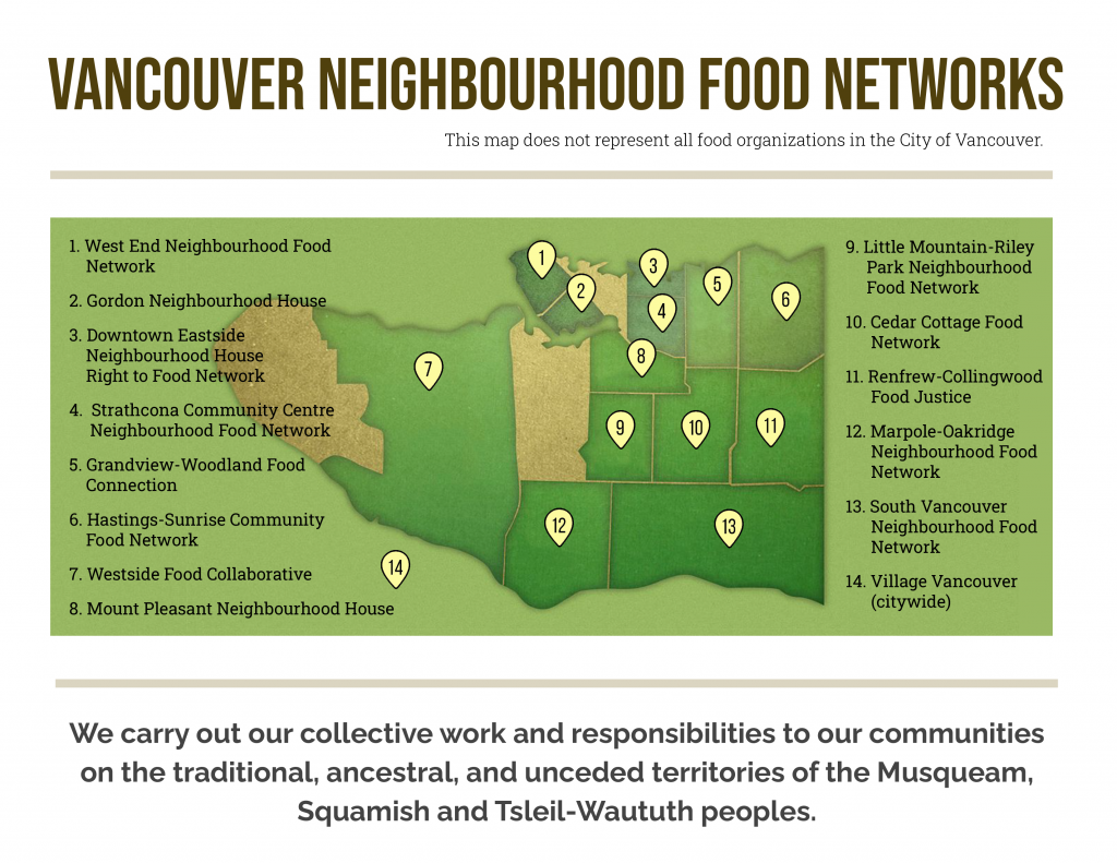 An image showing a map with the locations of all 14 Vancouver Neighbourhood Food Networks, which doesn't represent all food organizations in the City of Vancouver. //  We carry out our collective work and responsibilities on the traditional, ancestral, and unceded territories of the Musqueam, Squamish and Tsleil-Waututh peoples.
