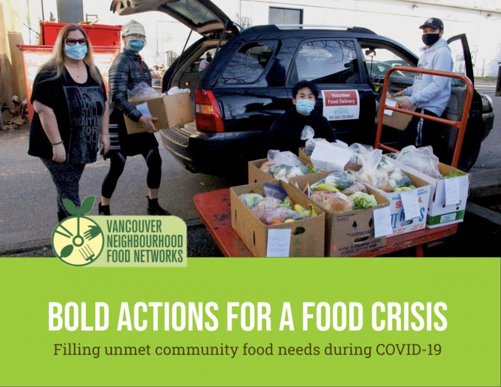 """PIctured here: Staff and volunteers from Grandview-Woodland Food Connection wearing masks and loading food hampers into a volunteer's personal vehicle, for delivery to community members.  The title reads: """"Bold actions for a food crisis: Filling unmet community food needs during COVID-19"""""""